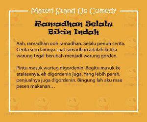 Materi Stand Up Comedy Ramadhan